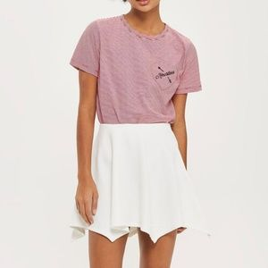 Top Shop Hanky Jersey White Flippy Skirt! NWT!